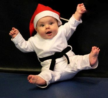 """Strong Baby Baby Grow Baby Play Suit /""""Baby Karate with Black Belt/"""" Karate Baby"""