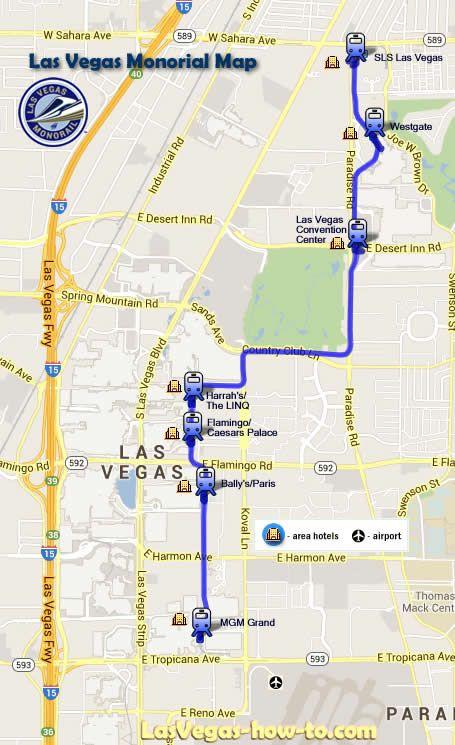 Las Vegas Monorail Map Places visitedTravel Info Pinterest