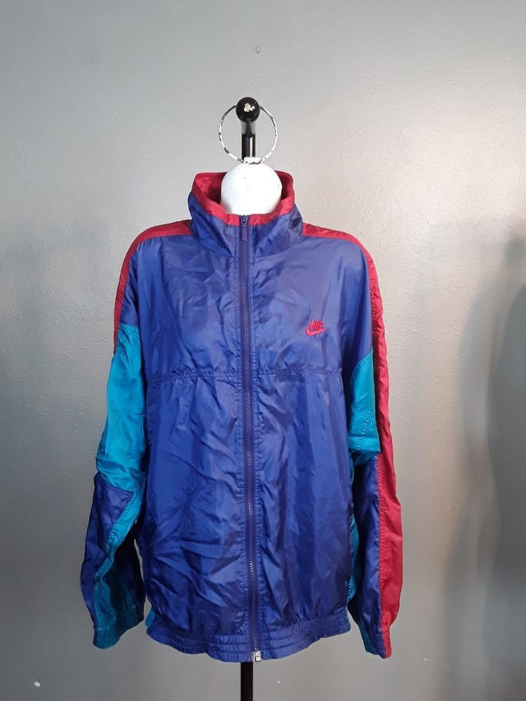 6a8cb6c6a3 Nike Windbreaker Jacket Mens L Vintage 90s Color Block Blue   Red    Turquoise