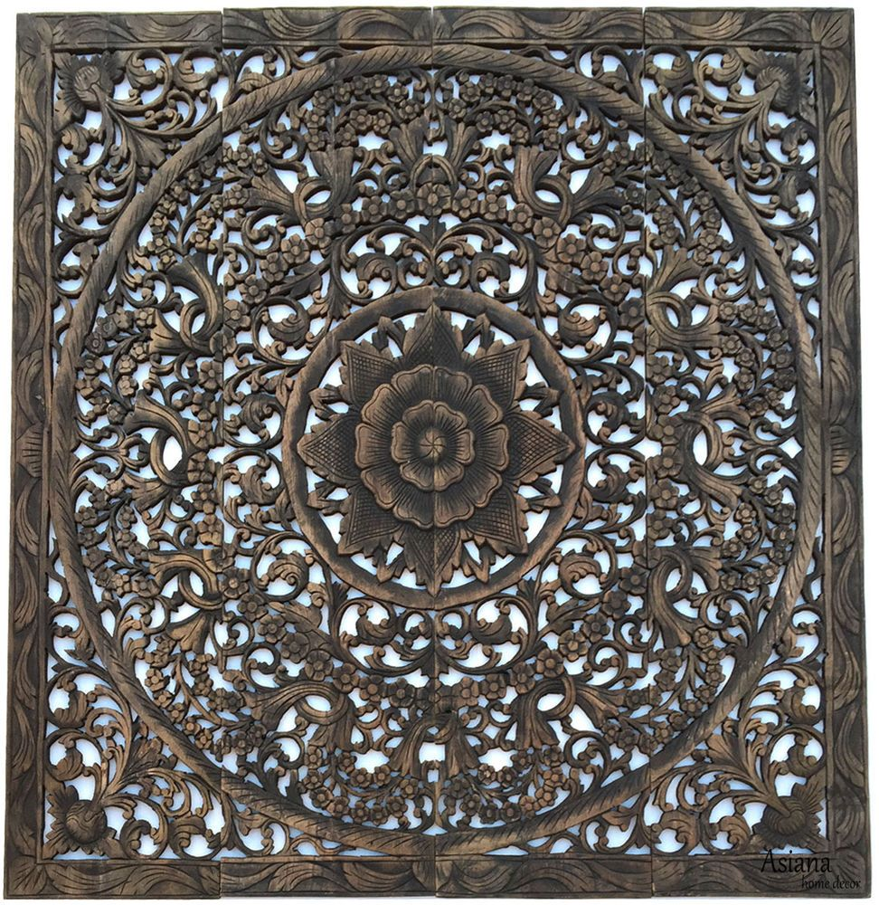 Large square wood carved floral wall art asian home decor wood wall