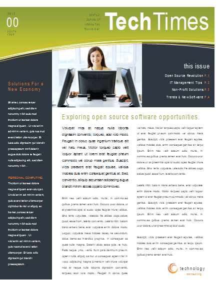 Simple small business newsletter template for Microsoft Publisher – Business Newsletter