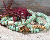 SET OF THREE stack bracelets / druzy bracelet / gold bracelet / bohemian jewelry