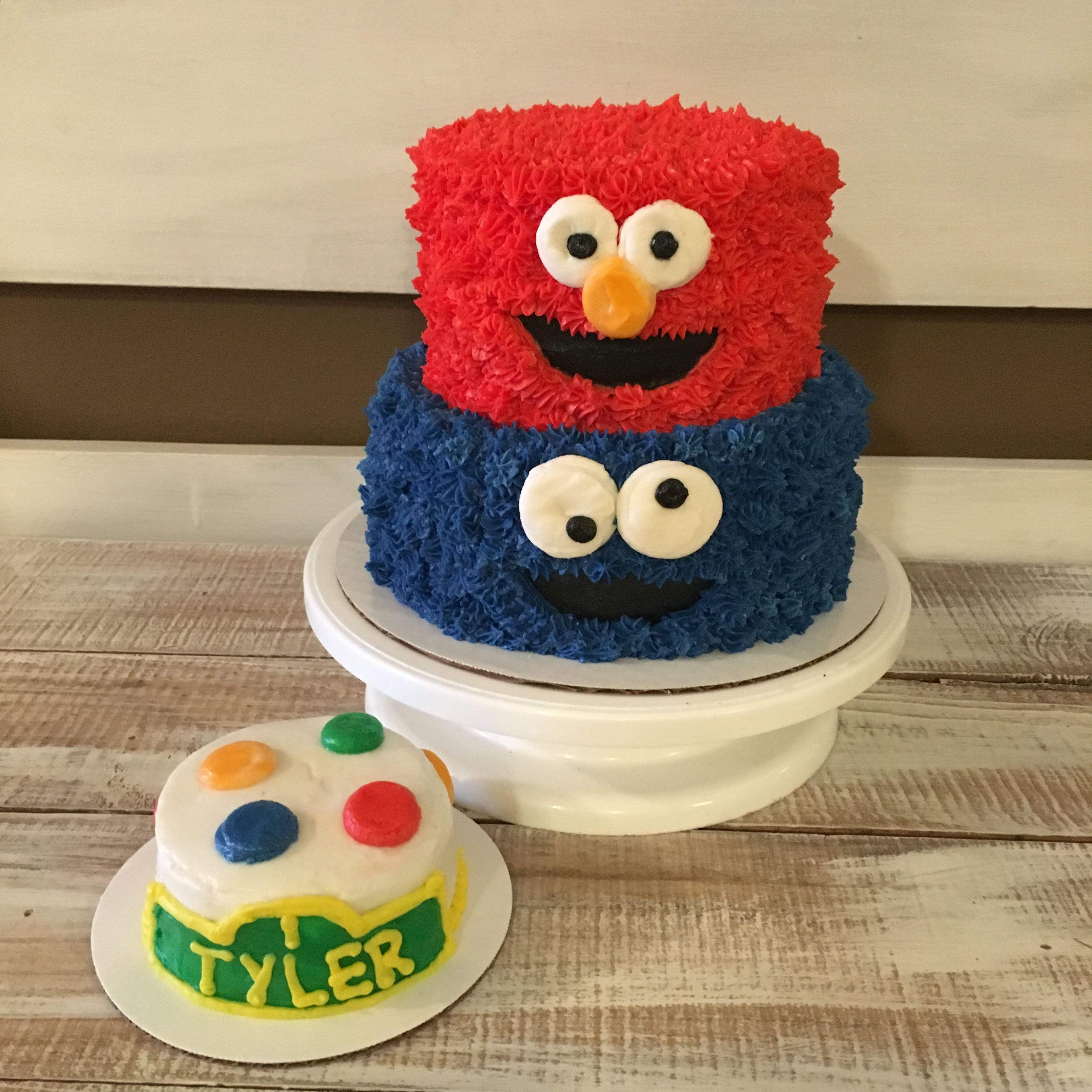 Sesame Street first birthday cake and smash cake Elmo cake