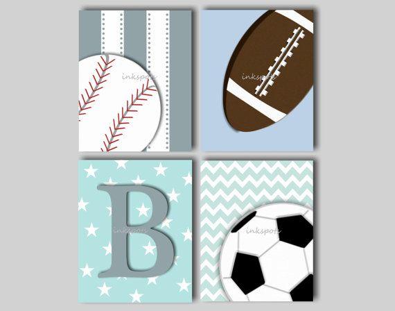 Baby Boy Nursery Art Sports Prints Decor Wall Football Print Baseball Choose Colors 8 X 10