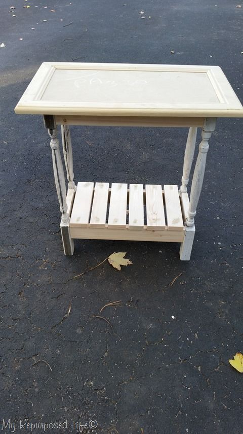 Use A Cabinet Door, Spindles And Scrap Wood To Make A Small Side Table