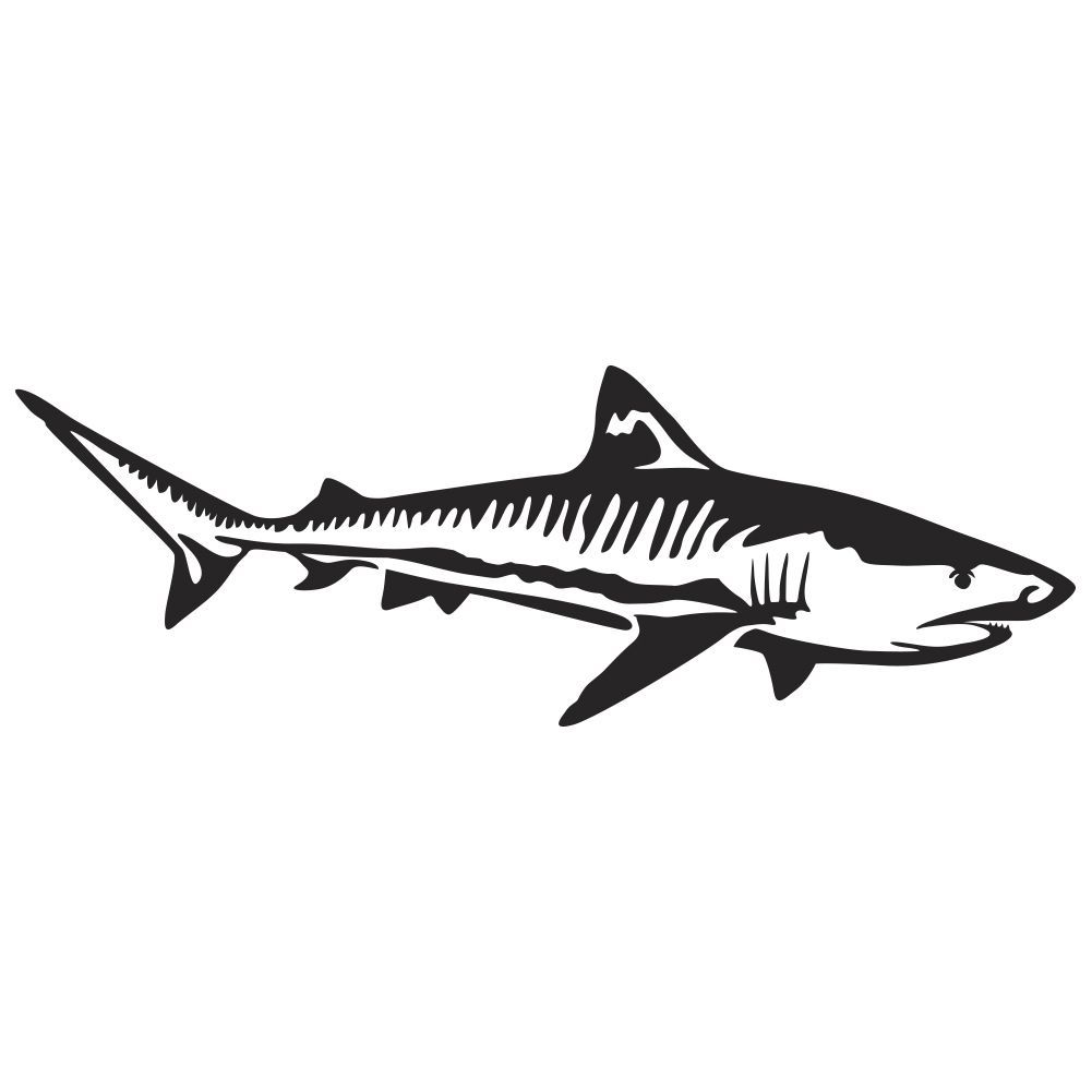 Tiger Shark Wall Decal | Shark silhouette, Tiger shark, Shark