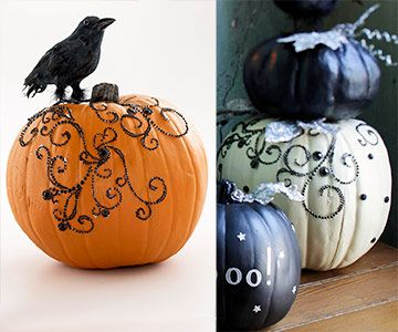 Glamorous Halloween Pumpkin with Black Rhinestones. Add a touch of elegance to the typical Halloween decor.