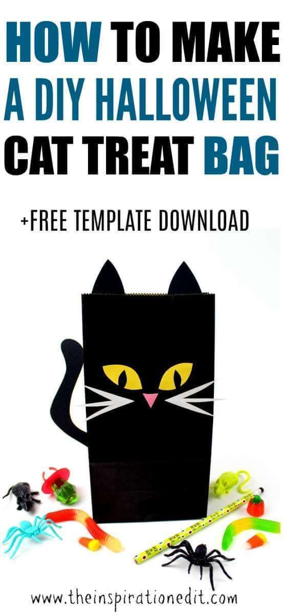 How to make a Halloween Cat Treat Bag, This is a fantastic Idea. Come and take a look. #Cat #halloween #halloweentreatbag #halloweencat #halloweencraft #craftideas #craftsforkids #kidshalloween