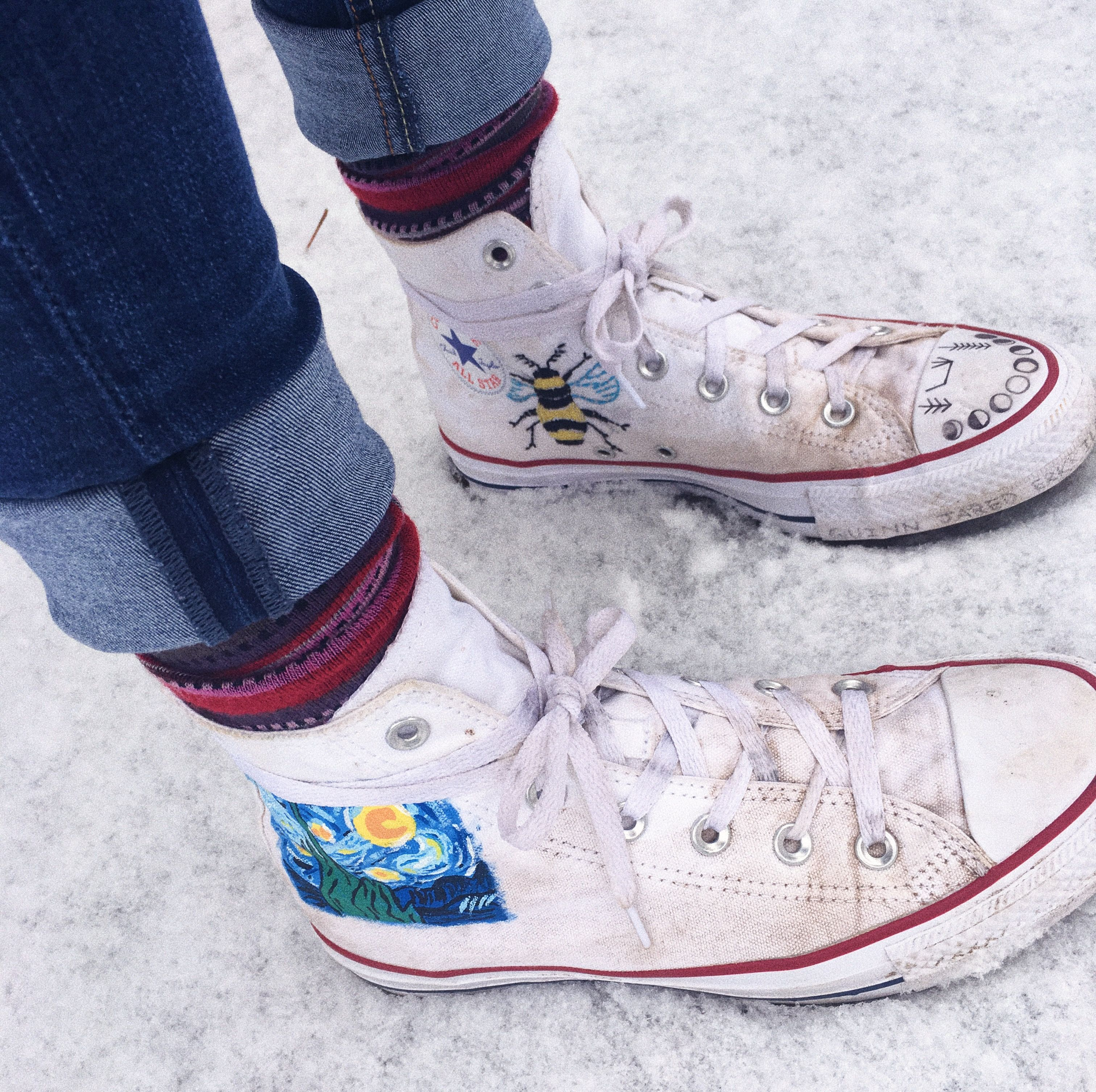 Cool white converse. Snow. Painting, embroider. Bee. Moon