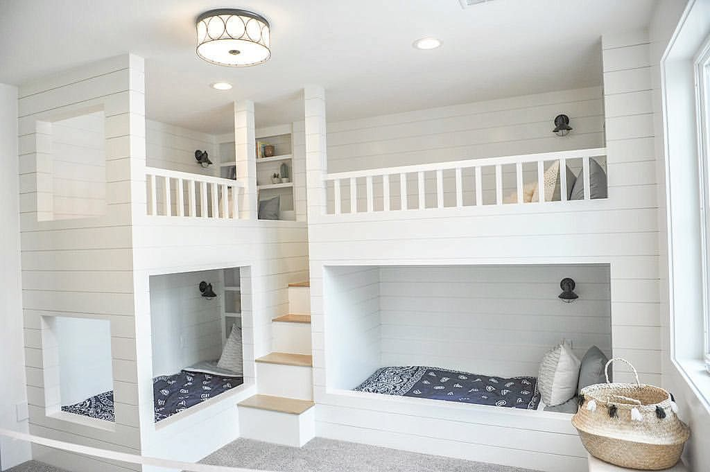 How Fun Is This Bunk Room For Kids Each Bunk Has Their Own Bookshelves And Reading Light Mill Modern Bunk Beds Bunk Beds Loft Spaces