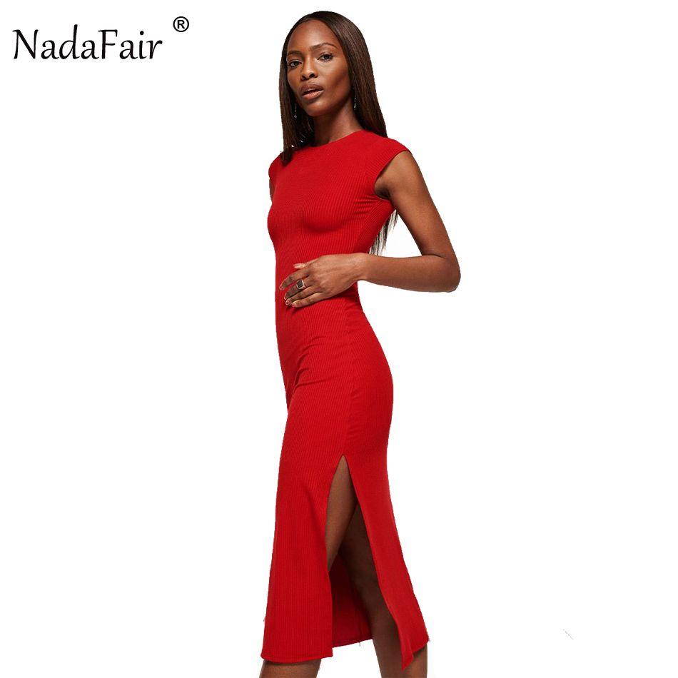 Nadafair cotton knitted short sleeve high split sexy club