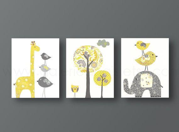 Gelben Grau Kinderzimmer Kunst Baby Kinderzimmer Dekor Kids Wand Kunst Baby  Junge Kinderzimmer Wand Kunst Elefant
