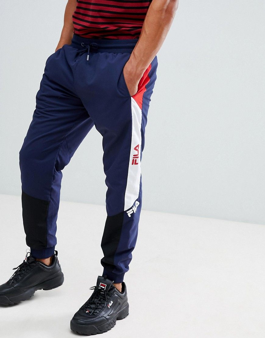 374a0697fd2867 FILA BLACK LINE BECKHAM PANNELLED TRACK JOGGERS IN NAVY - NAVY. #fila #cloth