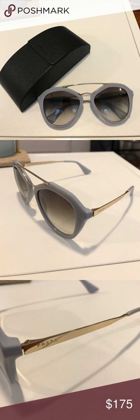 9e44e302236c Not noticeable when wearing. A beautiful light blue grey color. Gold  hardware. Comes with case. AUTHENTIC!! Purchased from Saks Prada  Accessories Sunglasses