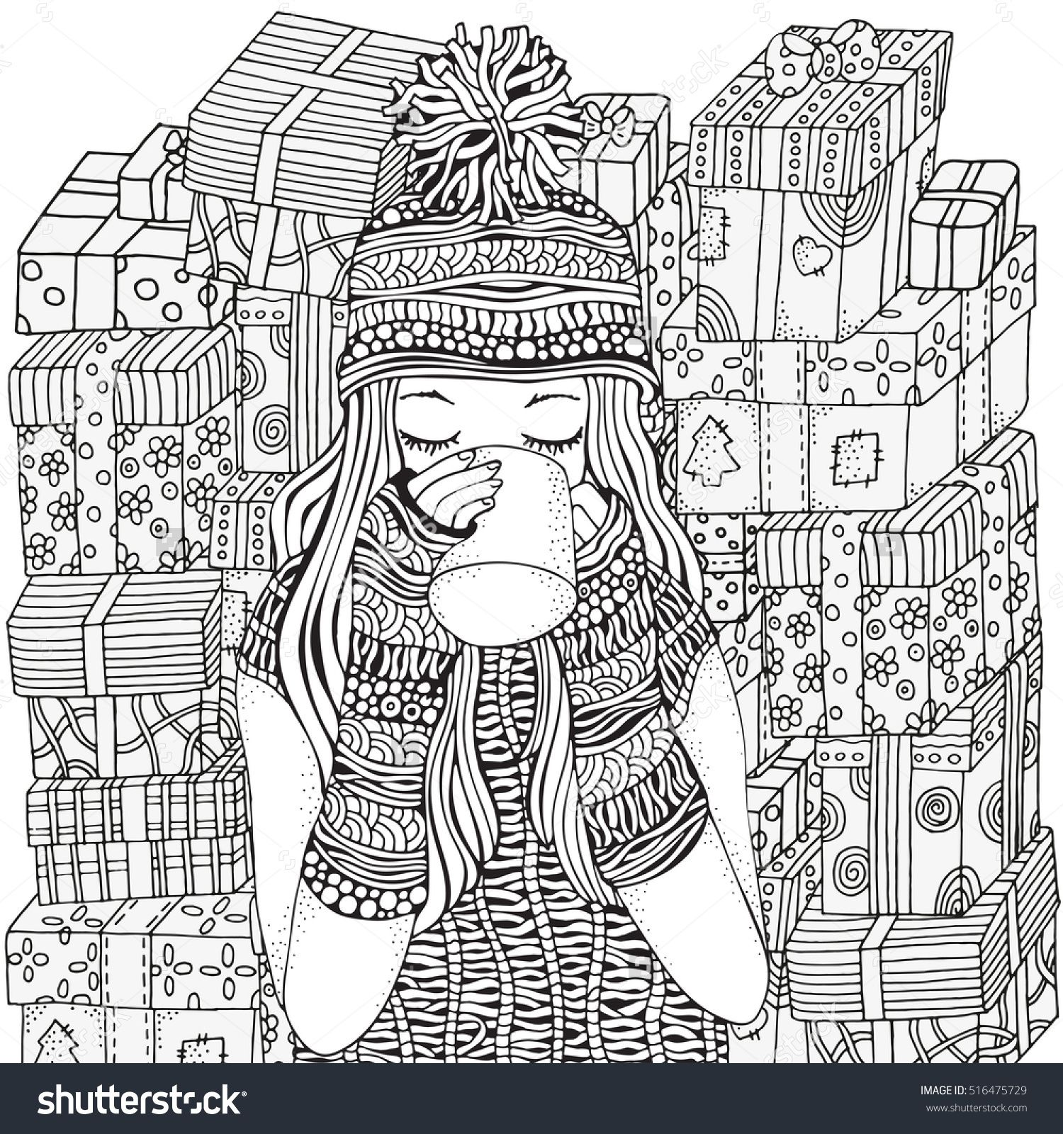 Winter girl and cup of coffee holiday gifts adult coloring book