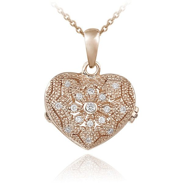 Icz Stonez Sterling Silver Cubic Zirconia Flower Heart Locket Necklace (£21) ❤ liked on Polyvore featuring jewelry, necklaces, pink, sterling silver pendant necklace, heart locket, pink flower necklace, heart necklace and sterling silver heart locket