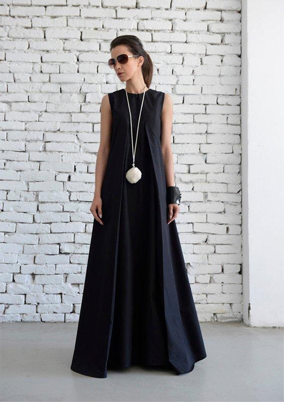 Black Maxi Dressloose Long Dressplus Size Kaftanlong Black Dress