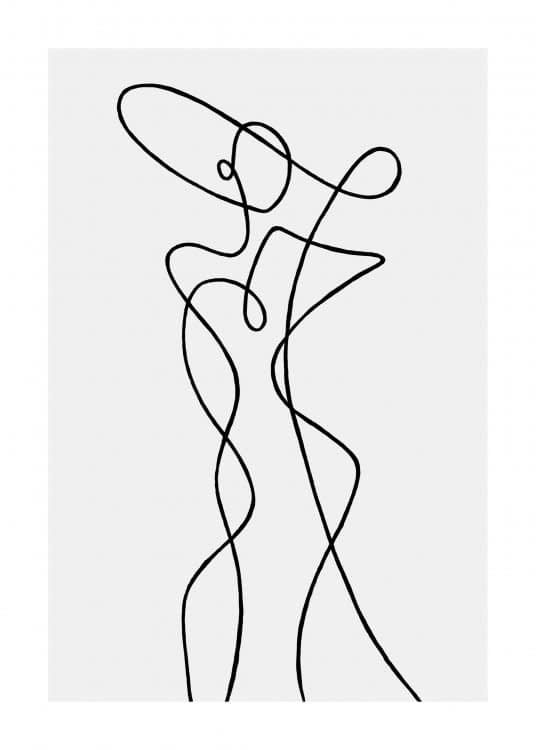 Schlichte beige Bilderwand Linienkunst schwarze Metallrahmen - Inspiration Bilderwand - Posterstore.de