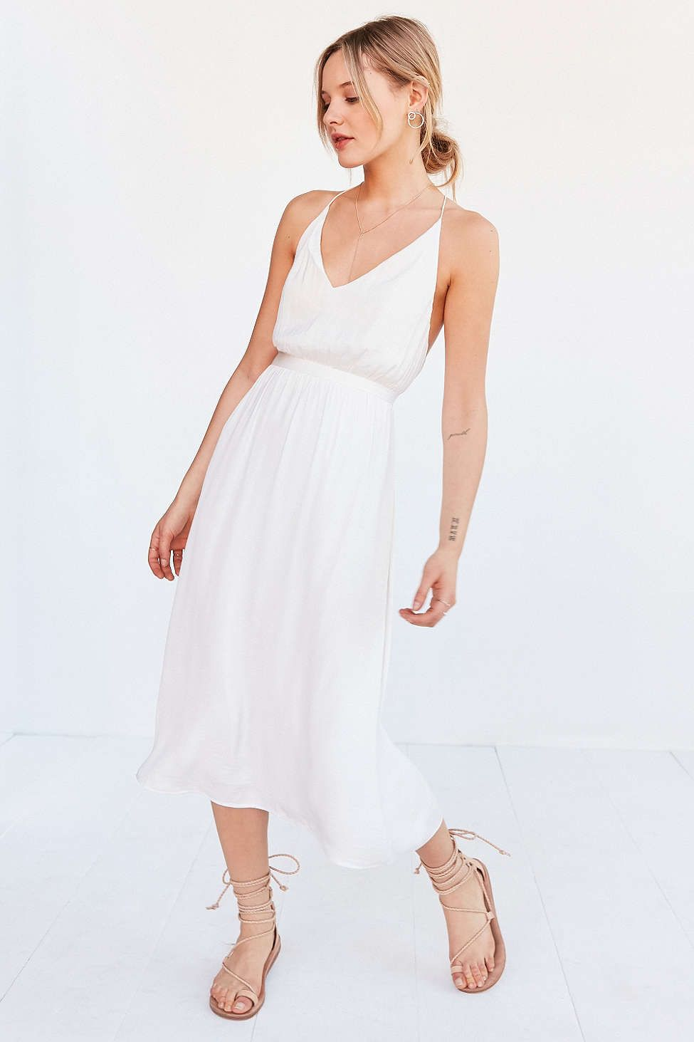 6320 7900 silence noise brielle satin midi dress having an outdoor wedding dress your bridesmaids in this white number from silence noise ombrellifo Image collections