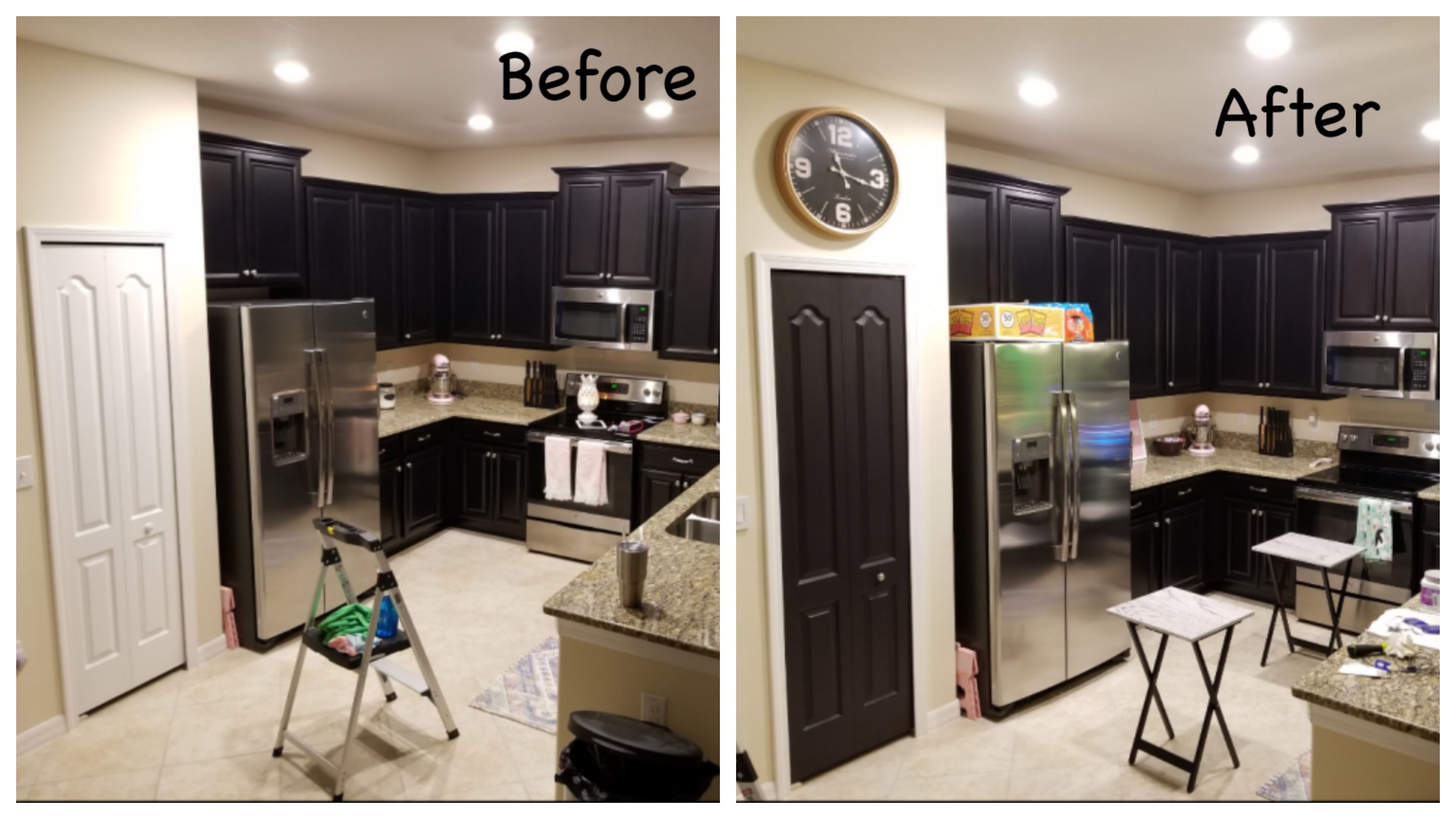 Easy Diy Home Upgrade Painted Pantry Door Sherwin Williams Deep Forest Brown Painted To Match Dark Espres Dark Kitchen Cabinets Painted Pantry Brown Cabinets