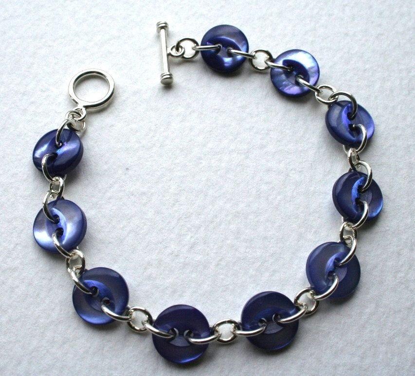 Blue Vintage Mother Of Pearl Button Bracelet Sterling Silver