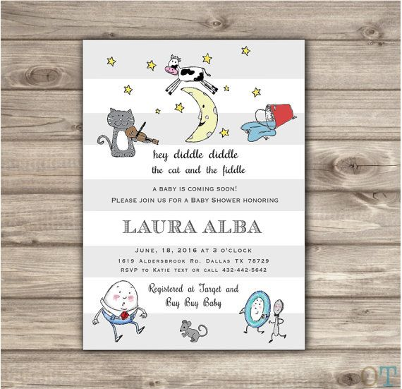 Nursery Rhyme Baby Shower Gender Neutral Classic Book Golden - vintage invitation template