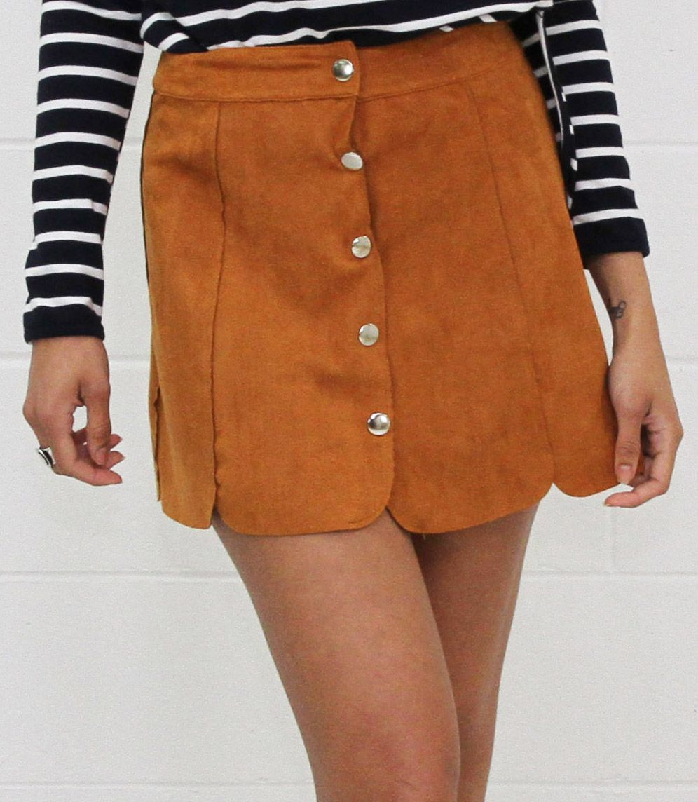 Toby Heart Ginger   Luna Suede Panel Skirt