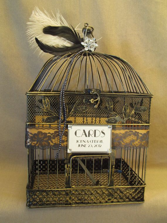 art deco wedding card box bird cage bling feathers lace birdcage wedding