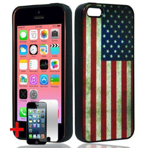 Apple Iphone 5c Black Tpu Rubber Border Red White Blue Usa American Flag Hybrid Cover Hard Protector Phone Protector Case American Flag Case Apple Iphone 5c
