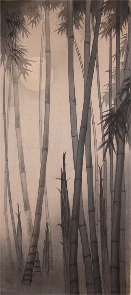Artist: Yamamoto Shoun Title:Bamboo and Full Moon Date:c.1930