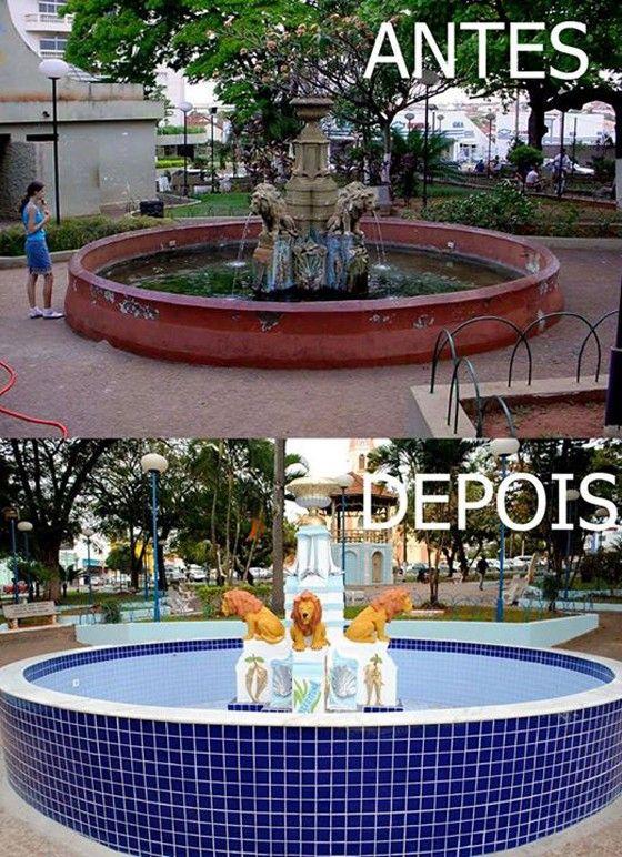 O chafariz de Ibitinga - antes e depois em foto compartilha pela prefeitura (Foto: Reprodução)