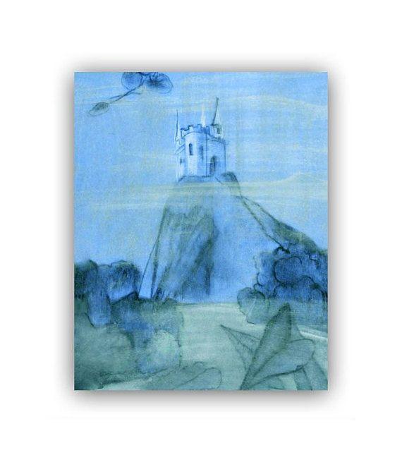 prince blue castle nursery art print 8x10 baby boy nursery children wall art - Blue Castle Decor