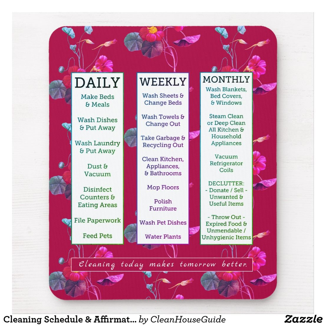 Cleaning schedule affirmation feminine floral mouse pad