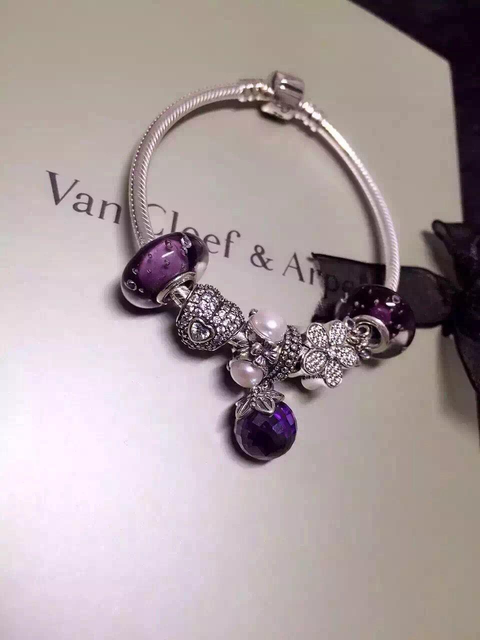 1f3082bbcf0 50% OFF!!! $199 Pandora Charm Bracelet Purple White. Hot Sale!!! SKU ...