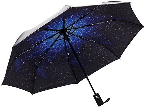 RENZER Travel Compact Starry Sky Auto Open and Close Foldable women's Umbrella Blue *** undefined #Umbrellas