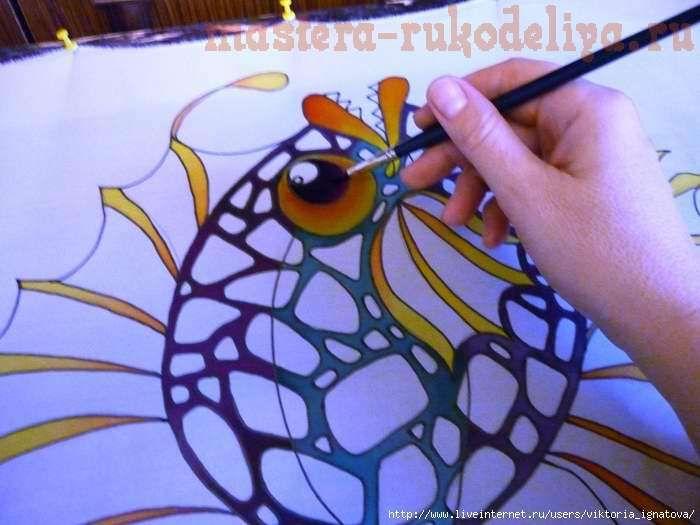 Мастер-класс по батику: Холодный батик - Роспись палантина Чудесные рыбины5