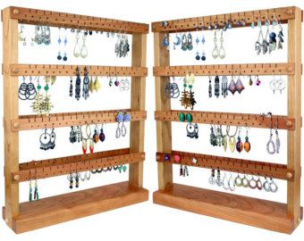 Earring Holder Stand Earring Display Cherry Wood DoubleSided