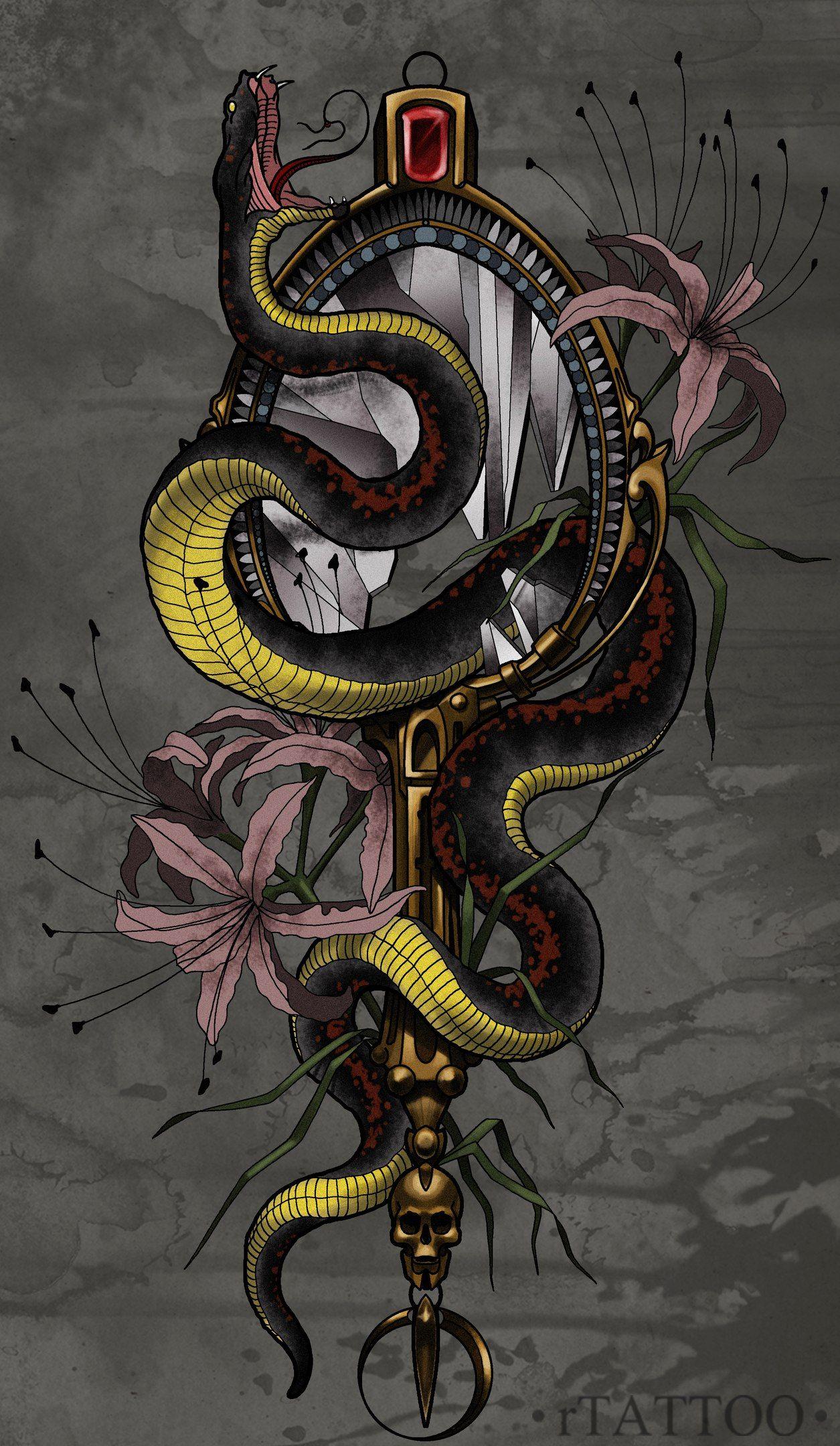 фото эскизов змей она