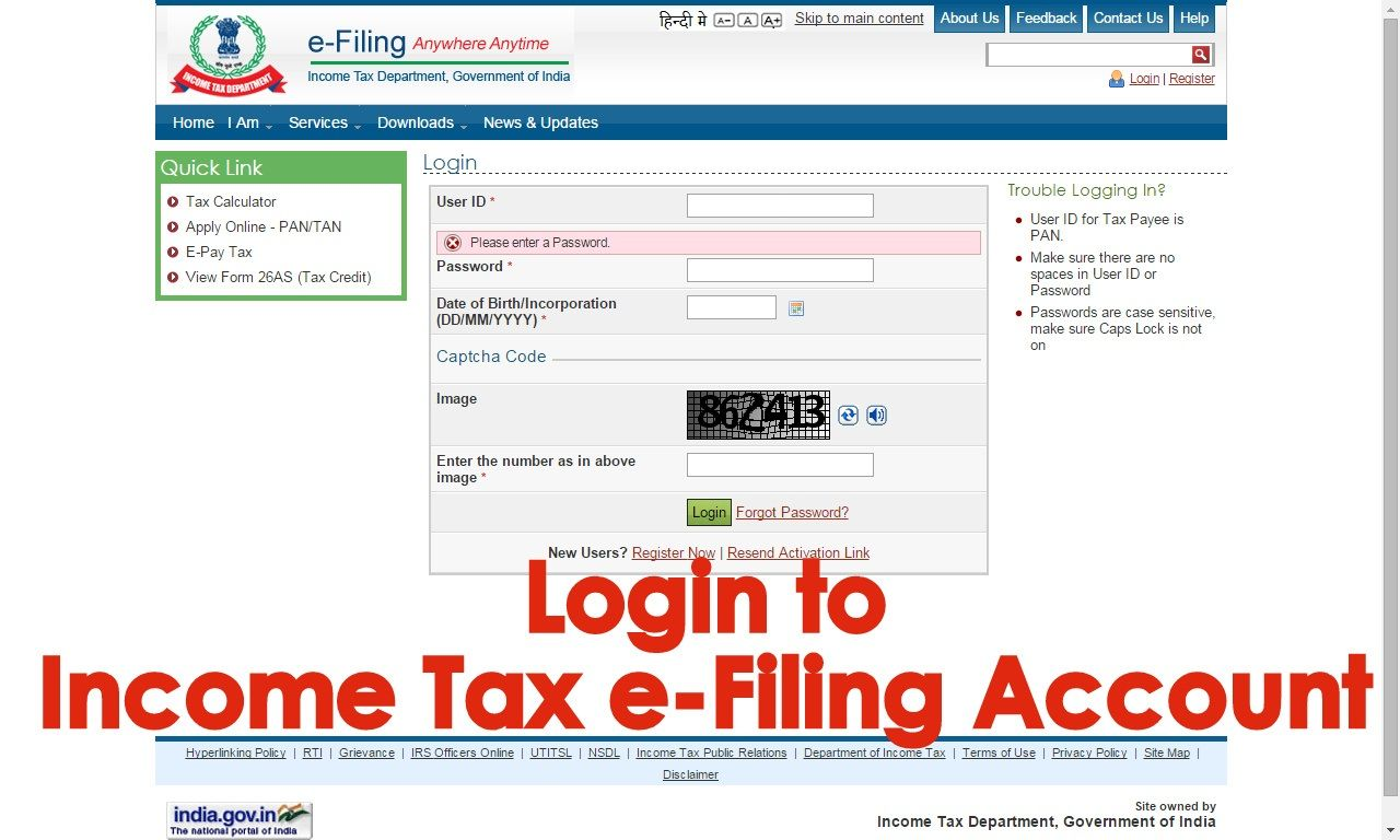 How to login to Tax eFiling Account of an Assessee