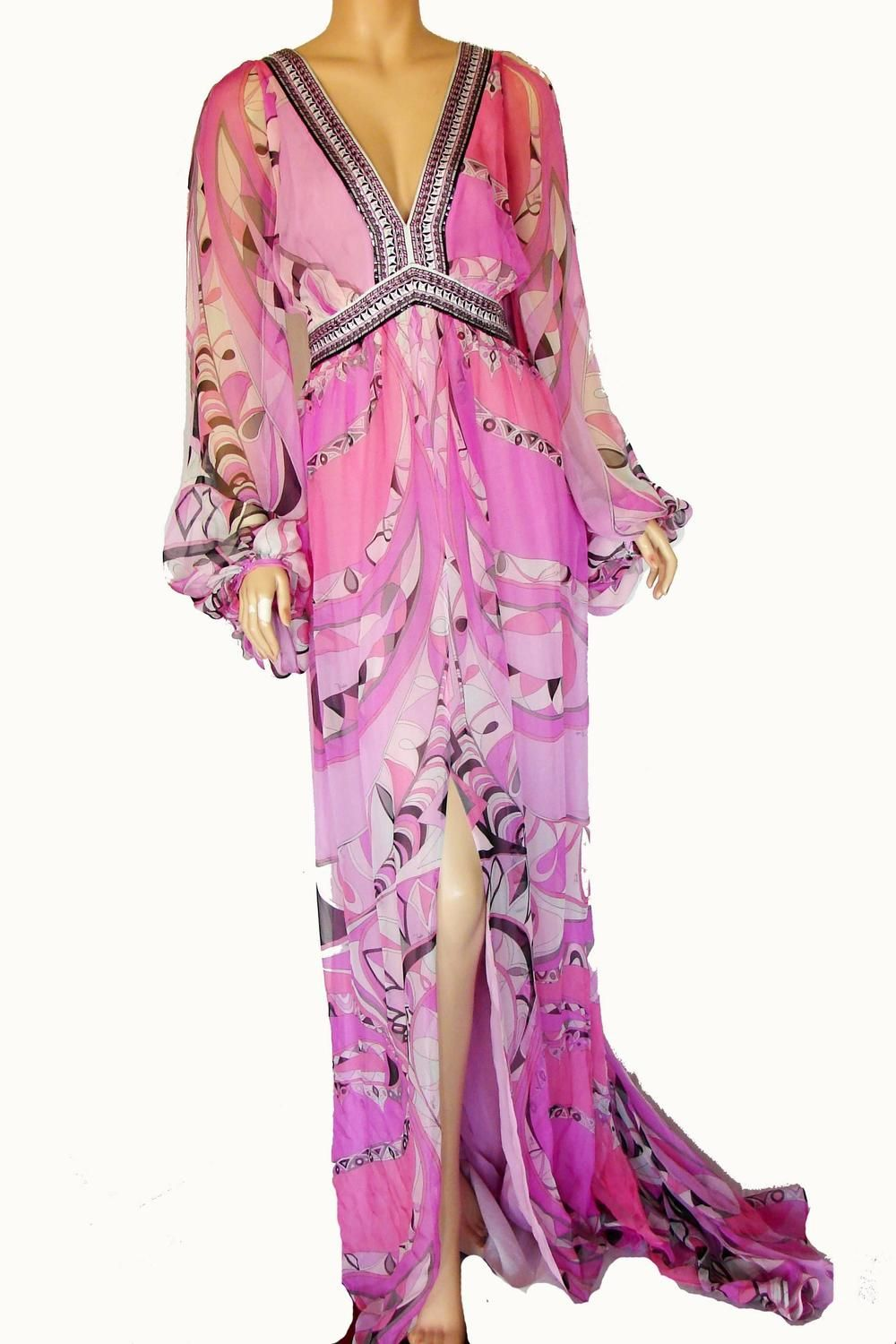 7cd0782702776 Emilio Pucci Embellished Silk Chiffon Maxi Dress Gown Size 38 New with Tags  image 4