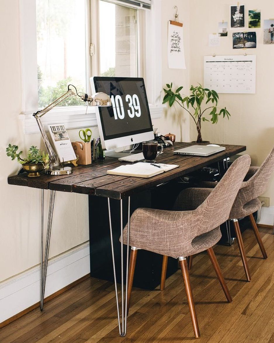 Small Mobile Homeinterior Design: Love This Workstation. Warm And A Little Greenery X #home