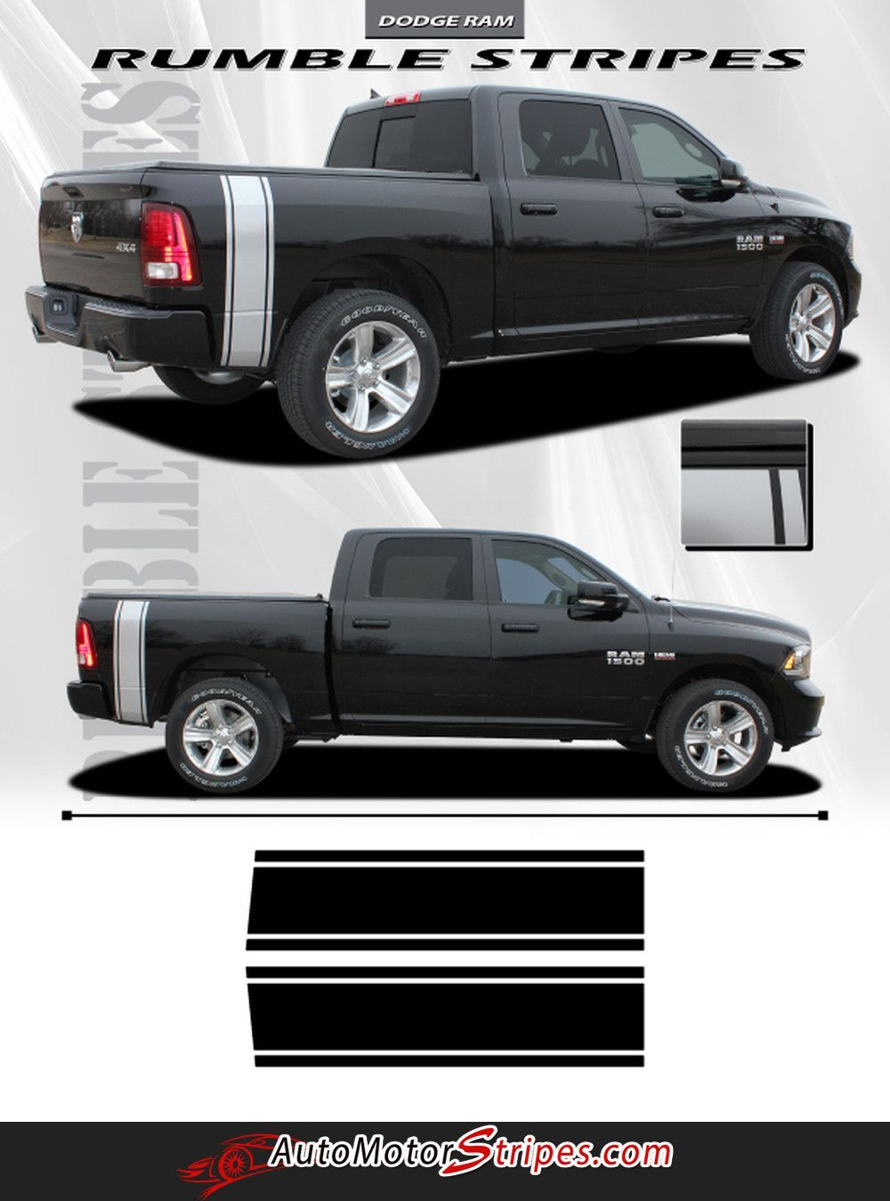 Vehicle specific style dodge ram truck rumble bee bed striping vinyl graphic stripe decals year fitment 2009 2010 2011 2012 2013 2014 2015 2016 contents