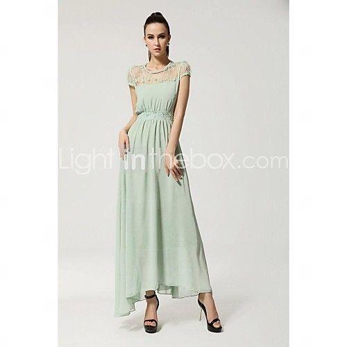 Women\'s Lace Colloar Short Sleeve Beam Waist Plus Size Evening Party ...