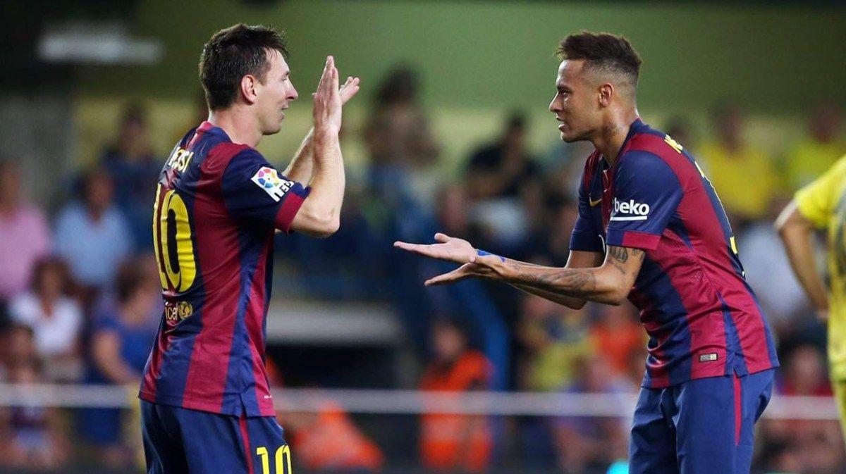 Messi Neymar Celebrating A Goal Wallpaper HD