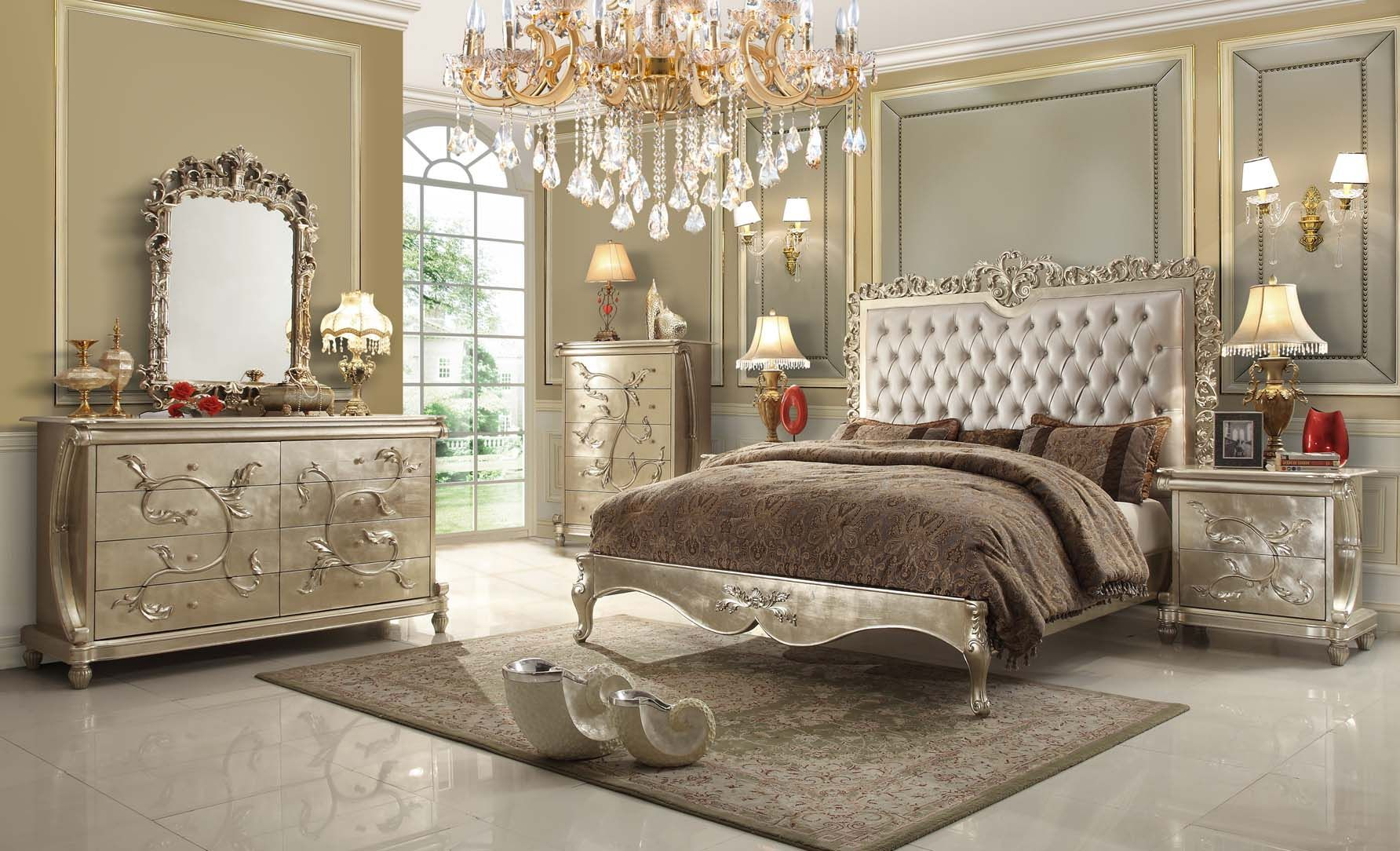 Hds Hd13005 Victorian Elegant Pearl Finish With Leather Tufted Headboard And Decorative Casegoods Bedroom Interior Traditional Bedroom Sets Luxurious Bedrooms