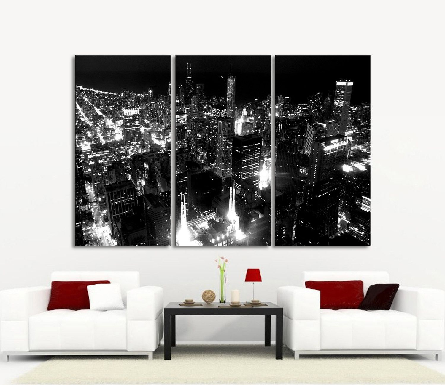 LARGE Wall Art Canvas Print Chicago City Skyline At Night   3 Panel (3 Piece