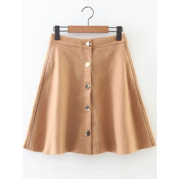 SheIn(sheinside) Khaki Button Up A Line Skirt (5.955 HUF) ❤ liked on Polyvore featuring skirts, shein, short a line skirt, short skirts, short khaki skirt, a-line skirts and khaki a line skirt