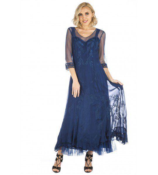 Celine Vintage Style Wedding Gown In Royal Blue By Nataya