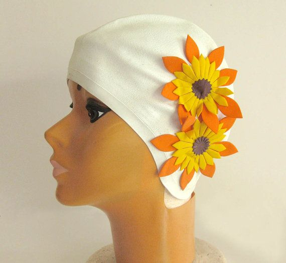 Vintage Floral Bathing / Swim Cap with Orange and Yellow Flowers by Diving Bell $36 on etsy