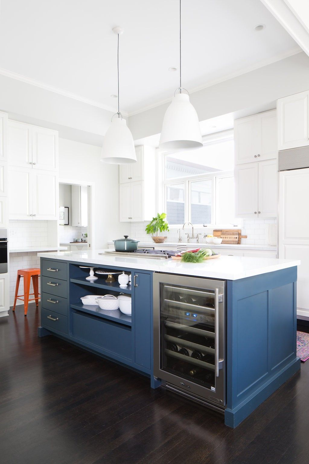 A Modern Leaning Kitchen Island Painted A Deep Blue In A Traditional Kitchen  Designed By Distinctive Kitchens Seattle. Photo By Wynne Earle Photography